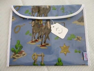 Handmade Baby Health Red Record Book Holder-'Cowboys & Indians' Oilcloth - BNWT