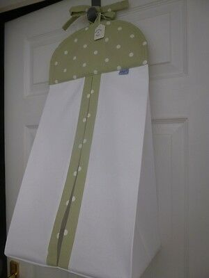 Bespoke Nursery Baby Nappy Stacker - Sage/White Dotty - 100% Cotton -  BNWT