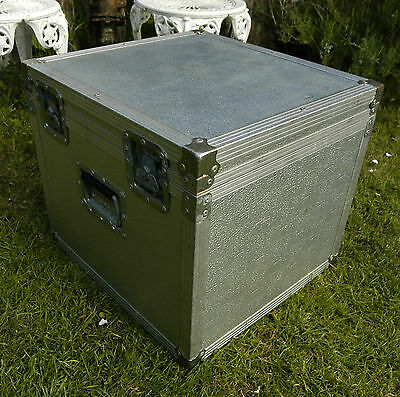 FLIGHT TRUNK Travel Shipping Storage Box Chest Case LARGE STRONG ALUMINIUM