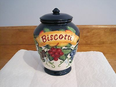 Nonni's Biscotti Cobalt Blue Cookie Jar Tuscan Fruits With Lid