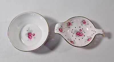 Crown Staffordshire SWEETHEART ROSE Tea Strainer & Drip Bowl EXCELLENT