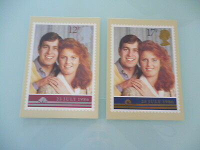 great britain 1986 PHQ Cards series 95 Royal Wedding  Prince Andrew  x 2 mint