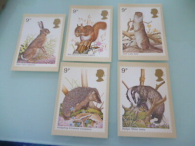 great britain 1977  PHQ Cards series 25 Wildlife   mint set x 5