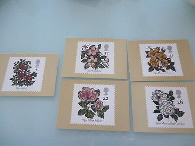great britain 1991  PHQ Cards series 136 Roses  mint set x 5