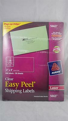 """NEW 500 Avery 5663 Clear Easy Peel Shipping Labels 2"""" x 4"""" Laser"""