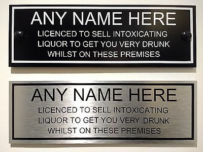 Personalised Pub bar licensee sign funny in BLACK or SILVER aluminium