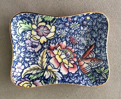 Vintage Royal Winton Grimwades England Chintz Blue Flowers & Butterly Dish 4.5""