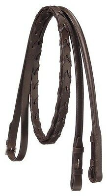 Equiroyal brown leather and raised lace reins horse tack equine