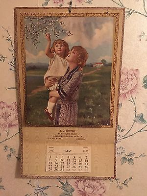 Antique 1927 Calendar Country Mother and Daughter Picking Cherry Blossoms