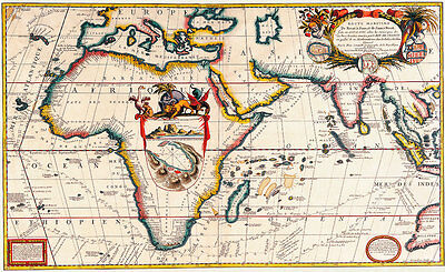 Map of Africa 1690 A1 Vintage High Quality Canvas Art Print