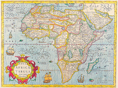 Map of Africa 1610 A2+ Vintage High Quality Canvas Art Print