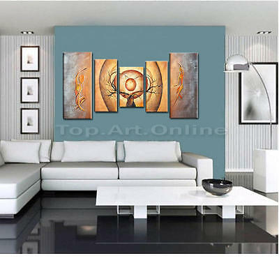 Hand Painted Oil Painting Modern Abstract Orange Trees Dancing Canvas Wall Decor
