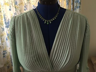 Vintage Van Roth pure silk gown, soft pistachio colour all over pleating, 12-14