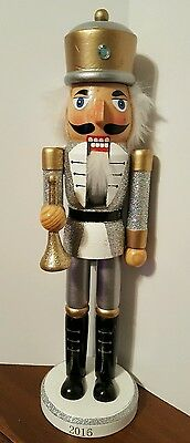"Silver Gold Nutcracker Royal King Guard Wooden Silver Glitter Christmas 15"" NEW"