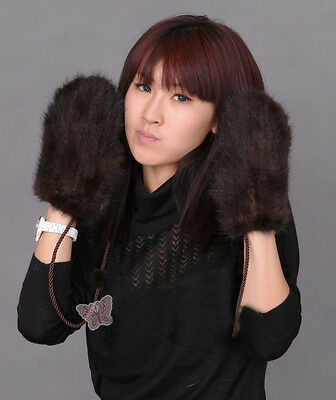 Competitive Price Real Mink Fur Knitted Mittens Gloves Fashion Gift With String