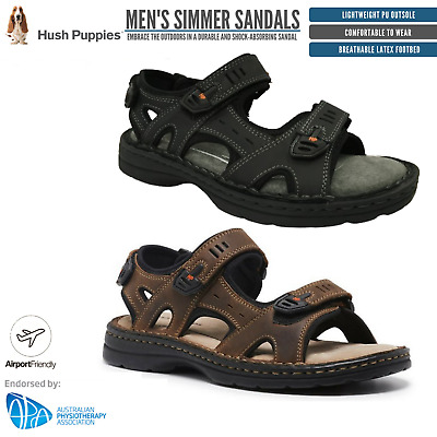 HUSH PUPPIES SIMMER Mens Leather Adjustable Strap Comfort Sandals Shoes New
