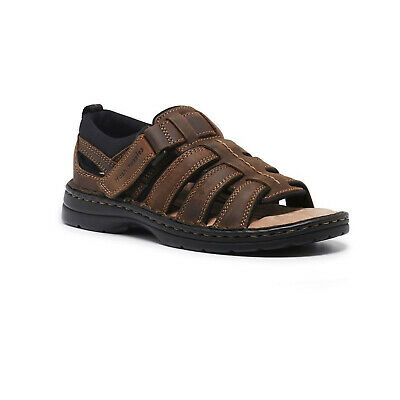 HUSH PUPPIES SPARTAN Mens Leather Wide Fit Comfort Sandals Shoes Slip On New