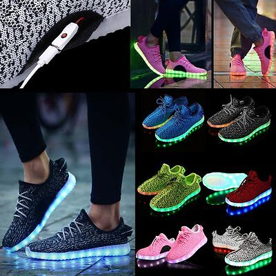 Kid Women Men LED USB Light UP Shoes Luminous Sneakers Athletic Knit Shoes 25-46