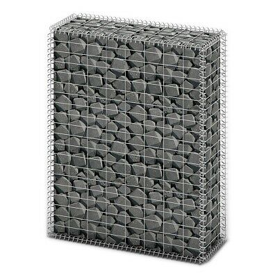 # New Gabion Wall 4mm Strong Metal Gabions Basket Cage 100x80cm Galvanized Steel