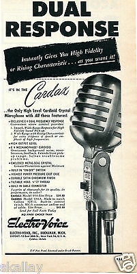 1949 Print Ad of Electro Voice Cardax Model 950 Dual Response Microphone