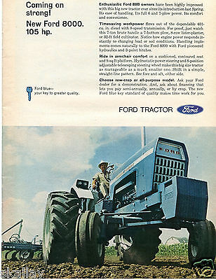 1968 Print Ad of Ford 8000 Farm Tractor