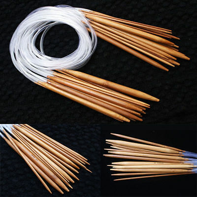 40cm-120cm 18 Sizes Double Point Carbonized Circular Bamboo Knitting Needles New