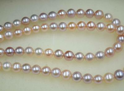 wholesale 2 strands fine luster 8.5-9mm Multi-colored ( natural) FW pearl