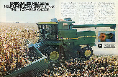 1982 John Deere Titan Country 8820 2 Page Combine Farm Tractor Print Ad