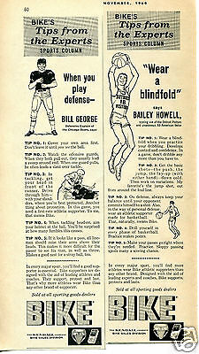1960 Bike Athletic Supporter 2 Different Print Ads Bailey Howell Bill George
