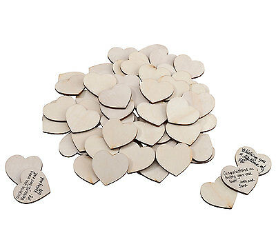 48 Wooden Timber Hearts Signing Wedding Wishes Guest Book Frame Drop Box Wishes
