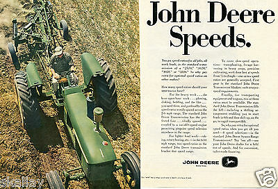 1967 2 Page Print Ad of John Deere 4020 Farm Tractor