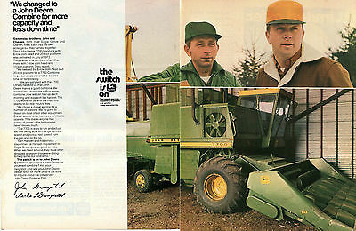 1973 John Deere 7700 Combine Farm Tractor 2 Page Print Ad