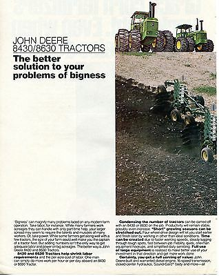 1978 John Deere 8630 Farm Tractor 2 Page Print Ad