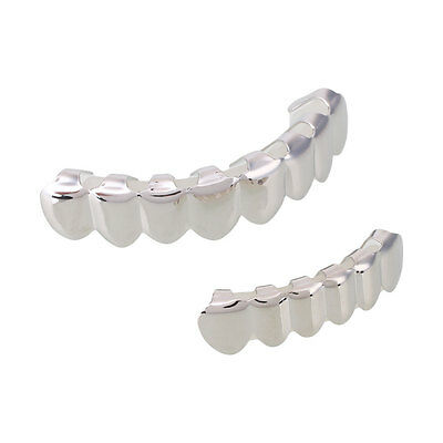 Hip Hop Gold Plated Mouth 8pcs Teeth Grill Grillz Bottom Halloween Party