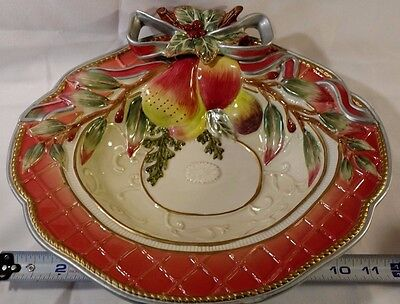 Fitz and Floyd Classics Enchanted Holiday serving bowl dish see description