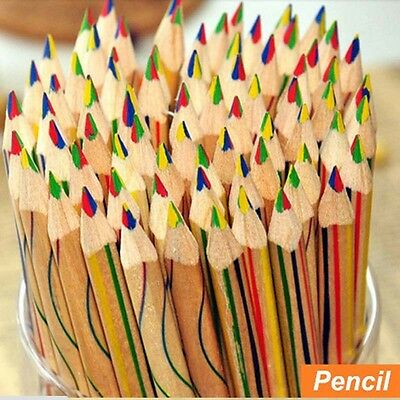 Kids 1-20pcs/Lot Rainbow Color Pencil 4 in 1 Colored Drawing Painting Pencils