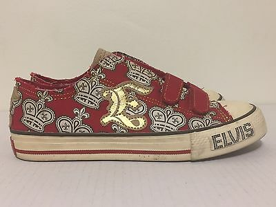 Elvis Presley Brand King Of Rock & Roll Red Gold Shoes Sneakers Womens Size 7