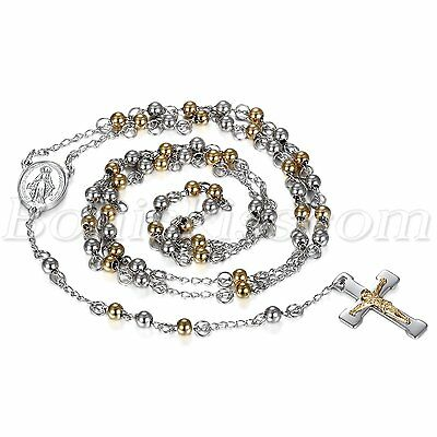 Stainless Steel Beaded Rosary Virgin Mary Jesus Cross Pendant Men Women Necklace
