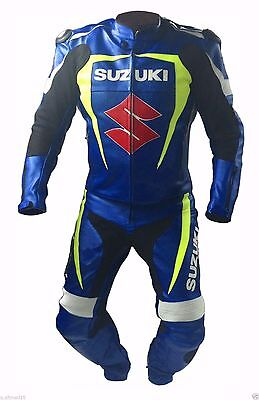 Suzuki GSXR GP Plus Leather Motorcycle Motorbike Sports Race Suit Custom Made