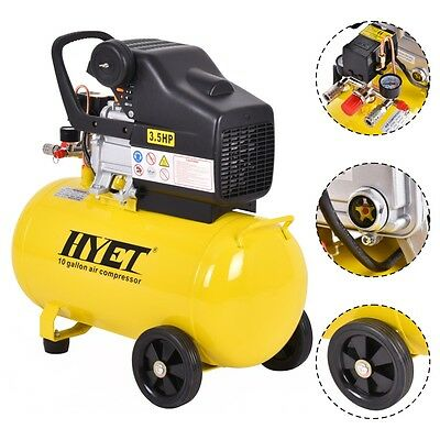 10 Gallon 125 PSI Air Compressor Cast Iron 3.5HP Motor Adjustable Pressure New