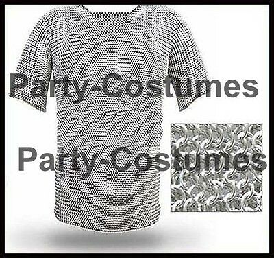 Aluminium Chain Mail Shirt Butted Chainmail Haubergeon Medieval Costume Armour @
