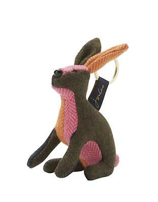 New JOULES Tweed Patch Hare Keyring