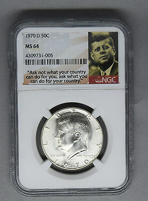 united states 1970 d Kennedy half dollar ngs ms64 + quote holder great coin