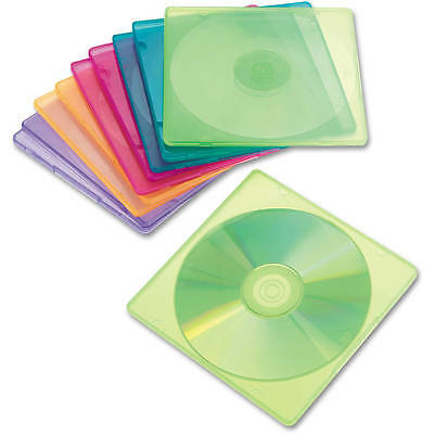 Innovera Slim CD Cases Clear Pack Multi Colored Set Storage Transparent Case New