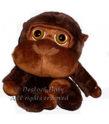 PELUCHE DOUDOU SINGE Gorille MARRON BIG HEADZ