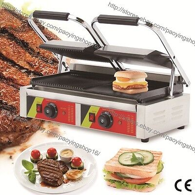 Commercial Nonstick Electric Steak Sandwich Panini Double Contact Grill Machine