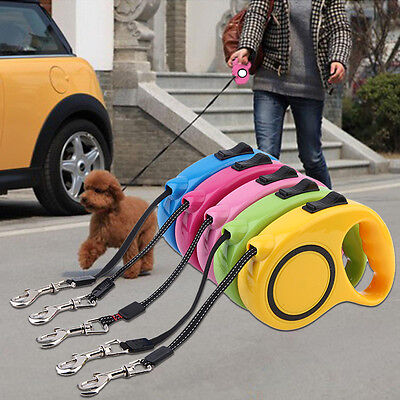 New 3M/5M Retractable Dog Lead Leash Cable Reflective Extending Puppy GT