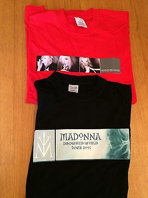 Madonna Drowned World Tour T Shirts UK Earls Court Rare Size Large Red Black
