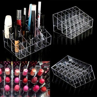New Clear Acrylic 24 Makeup Lipstick Cosmetic Storage Display Rack Stand Holder