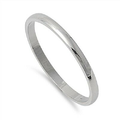 Plain Thin 2mm Wedding Band Silver Stainless Steel Ring Plus Size 10 11 12 T V X